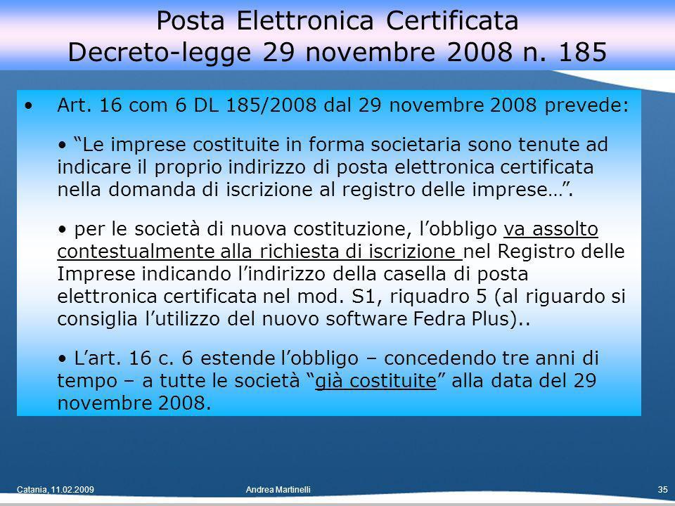 Catania, 11.02.2009Andrea Martinelli35 Art.