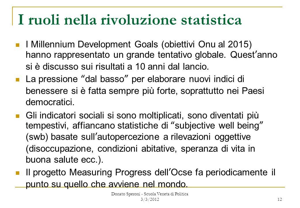 Donato Speroni - Scuola Veneta di Politica 3/3/2012 12 I ruoli nella rivoluzione statistica I Millennium Development Goals (obiettivi Onu al 2015) han