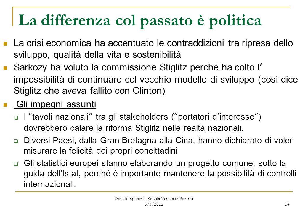 Donato Speroni - Scuola Veneta di Politica 3/3/2012 14 La differenza col passato è politica La crisi economica ha accentuato le contraddizioni tra rip
