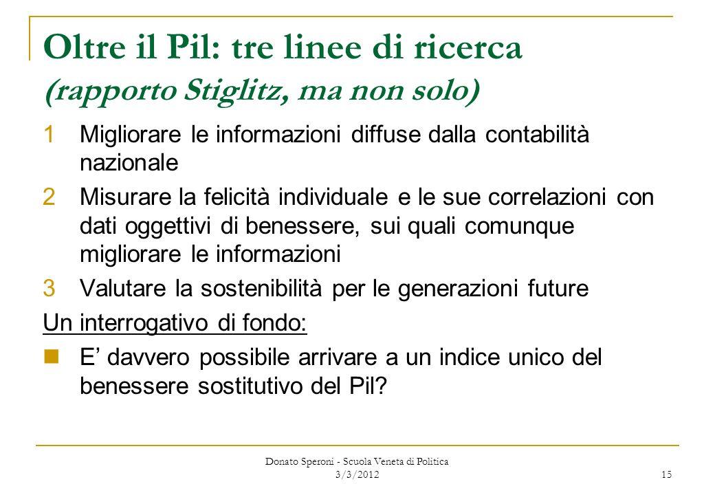 Donato Speroni - Scuola Veneta di Politica 3/3/2012 15 Oltre il Pil: tre linee di ricerca (rapporto Stiglitz, ma non solo) 1Migliorare le informazioni