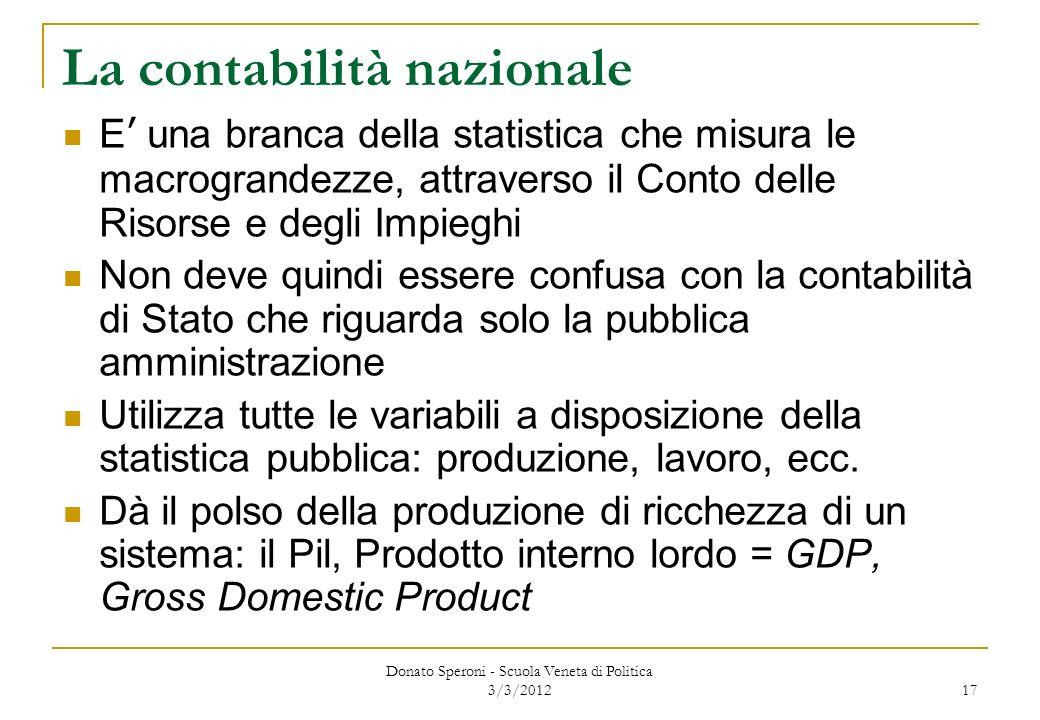 Donato Speroni - Scuola Veneta di Politica 3/3/2012 17 La contabilità nazionale E una branca della statistica che misura le macrograndezze, attraverso
