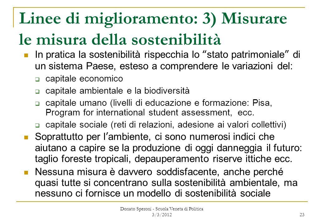 Donato Speroni - Scuola Veneta di Politica 3/3/2012 23 Linee di miglioramento: 3) Misurare le misura della sostenibilità In pratica la sostenibilità r