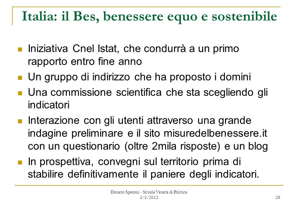 Italia: il Bes, benessere equo e sostenibile Iniziativa Cnel Istat, che condurrà a un primo rapporto entro fine anno Un gruppo di indirizzo che ha pro