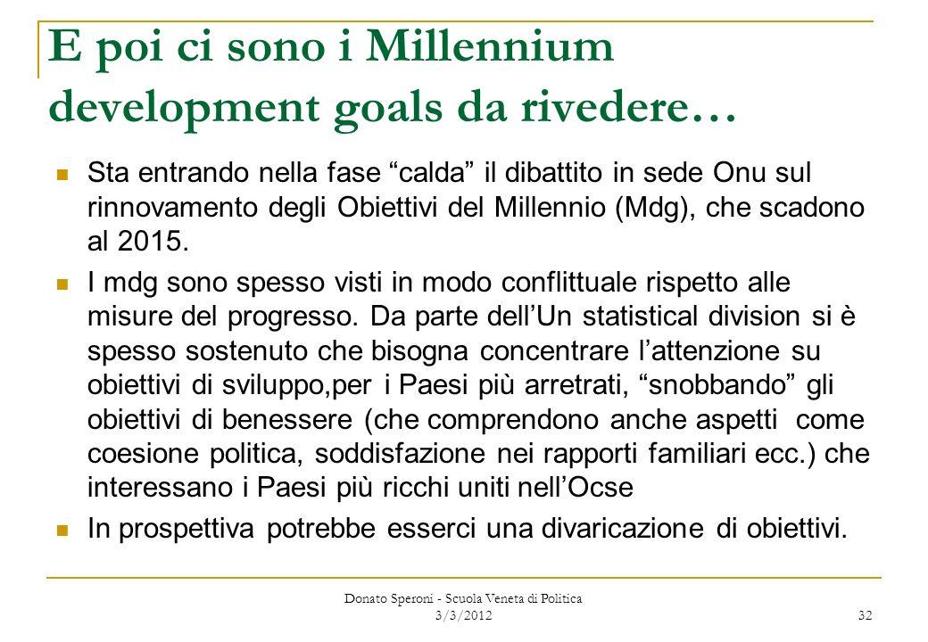 E poi ci sono i Millennium development goals da rivedere… Sta entrando nella fase calda il dibattito in sede Onu sul rinnovamento degli Obiettivi del
