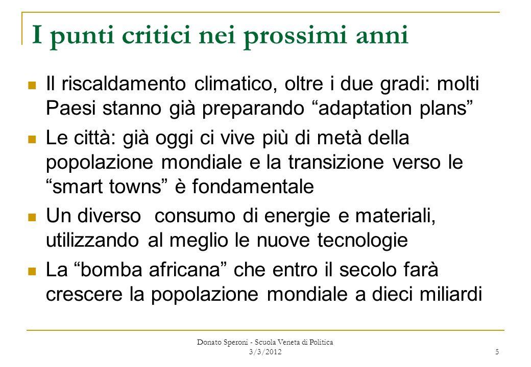 Leconomia globale costringerà a nuovi comportamenti Entro il 2030, quattro dei sette miliardi di abitanti della Terra vorranno (e potranno raggiungere) consumi al nostro livello Il Pianeta non regge questa pressione sulle risorse: il problema non è più soltanto il picco del petrolio, ma il picco di tutto il resto La governance globale è debole, ma indispensabile, per trovare soluzioni dopo Kyoto Anche in Italia si discute di carbon tax Donato Speroni - Scuola Veneta di Politica 3/3/2012 6