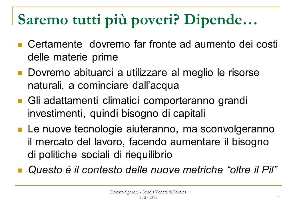 Donato Speroni - Scuola Veneta di Politica 3/3/2012 18 Il conto delle risorse e degli impieghi Prodotto interno lordo Importazioni = RISORSE Esportazioni Investimenti lordi Consumi finali = IMPIEGHI