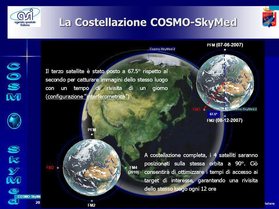 All rights reserved © 2008, Agenzia Spaziale Italiana COSMO-SkyMed Page 3 20 Novembre 2008 La Costellazione COSMO-SkyMed A costellazione completa, i 4 satelliti saranno posizionati sulla stessa orbita a 90°.