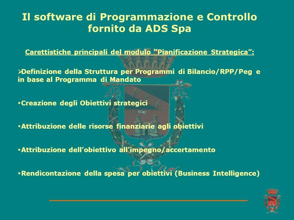 Il software di Programmazione e Controllo fornito da ADS Spa Definizione della Struttura per Programmi di Bilancio/RPP/Peg e in base al Programma di M