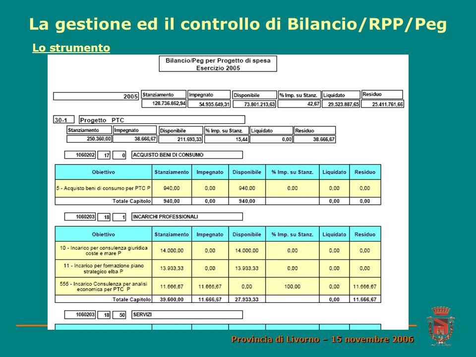 La gestione ed il controllo di Bilancio/RPP/Peg Provincia di Livorno – 15 novembre 2006 Lo strumento