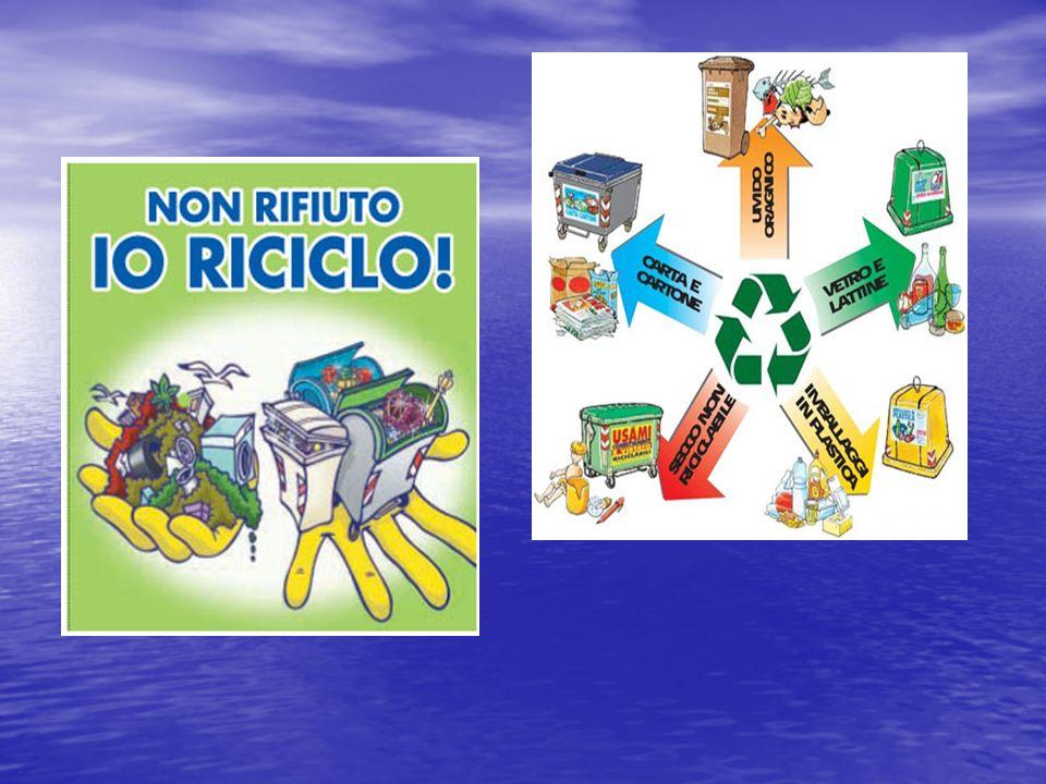 Esempi di prodotti che si possono ottenere con il riciclaggio Esempi di prodotti che si possono ottenere con il riciclaggio - - Con un certo quantitativo di plastica riciclata si può arrivare a fare anche dei maglioni - - Il vetro può essere facilmente riutilizzato, così come i barattoli di alluminio e la latta - - Dai rifiuti organici si possono ricavare dei fertilizzanti