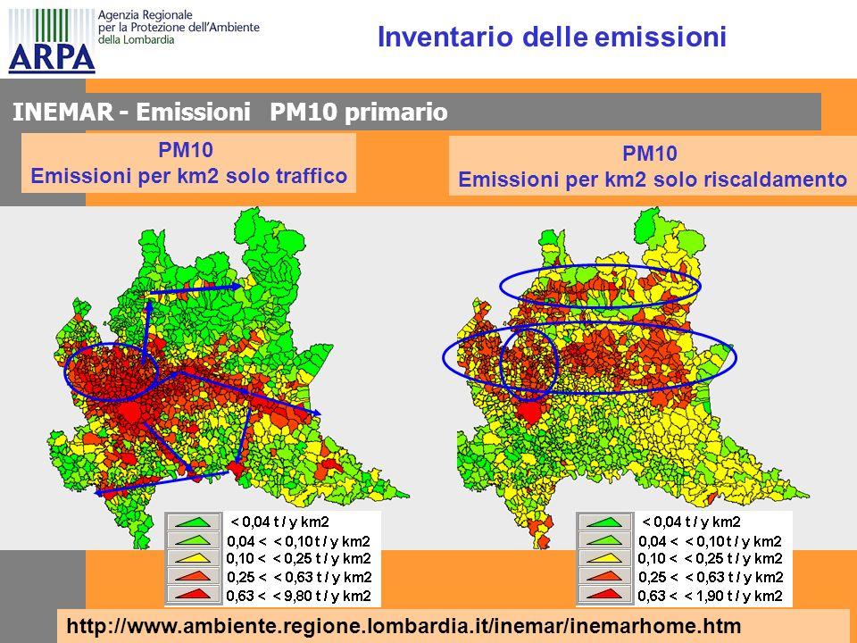 PM10 Emissioni per km2 solo riscaldamento PM10 Emissioni per km2 solo traffico Inventario delle emissioni INEMAR - Emissioni PM10 primario http://www.ambiente.regione.lombardia.it/inemar/inemarhome.htm