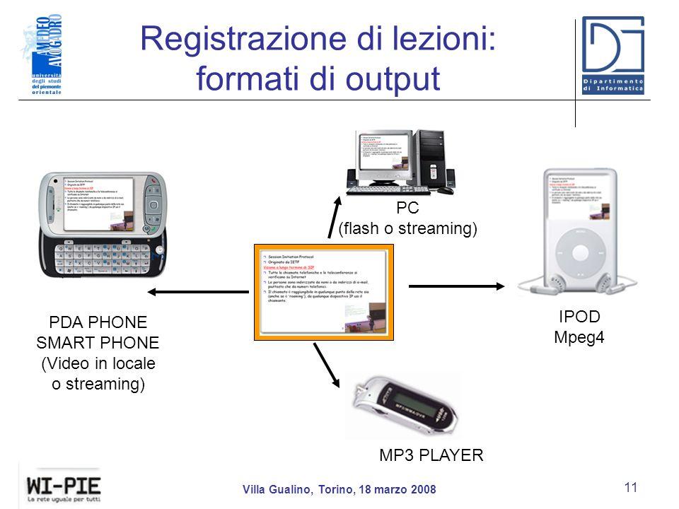 Registrazione di lezioni: formati di output Villa Gualino, Torino, 18 marzo 2008 11 PDA PHONE SMART PHONE (Video in locale o streaming) IPOD Mpeg4 PC (flash o streaming) MP3 PLAYER