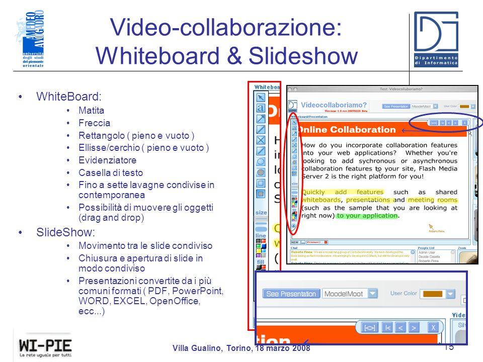 Video-collaborazione: Whiteboard & Slideshow Villa Gualino, Torino, 18 marzo 2008 15 WhiteBoard: Matita Freccia Rettangolo ( pieno e vuoto ) Ellisse/cerchio ( pieno e vuoto ) Evidenziatore Casella di testo Fino a sette lavagne condivise in contemporanea Possibilità di muovere gli oggetti (drag and drop) SlideShow: Movimento tra le slide condiviso Chiusura e apertura di slide in modo condiviso Presentazioni convertite da i più comuni formati ( PDF, PowerPoint, WORD, EXCEL, OpenOffice, ecc...)