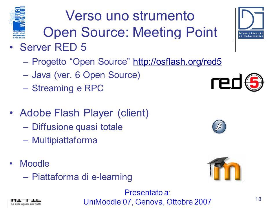 Verso uno strumento Open Source: Meeting Point Villa Gualino, Torino, 18 marzo 2008 18 Server RED 5 –Progetto Open Source http://osflash.org/red5 –Java (ver.