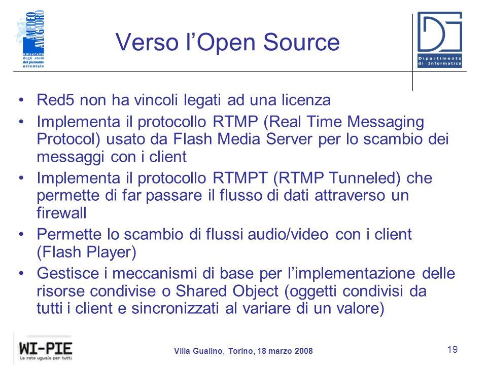 Verso lOpen Source Red5 non ha vincoli legati ad una licenza Implementa il protocollo RTMP (Real Time Messaging Protocol) usato da Flash Media Server per lo scambio dei messaggi con i client Implementa il protocollo RTMPT (RTMP Tunneled) che permette di far passare il flusso di dati attraverso un firewall Permette lo scambio di flussi audio/video con i client (Flash Player) Gestisce i meccanismi di base per limplementazione delle risorse condivise o Shared Object (oggetti condivisi da tutti i client e sincronizzati al variare di un valore) Villa Gualino, Torino, 18 marzo 2008 19