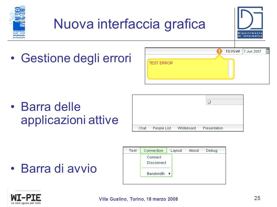 Nuova interfaccia grafica Villa Gualino, Torino, 18 marzo 2008 25 Gestione degli errori Barra delle applicazioni attive Barra di avvio