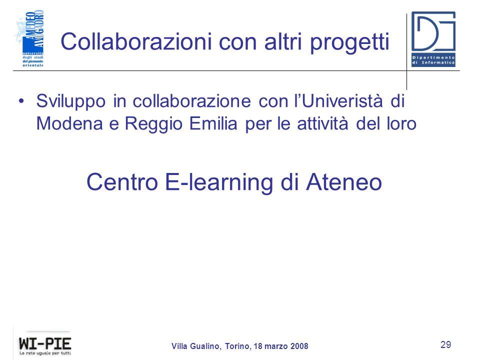 Collaborazioni con altri progetti Sviluppo in collaborazione con lUniveristà di Modena e Reggio Emilia per le attività del loro Centro E-learning di Ateneo Villa Gualino, Torino, 18 marzo 2008 29
