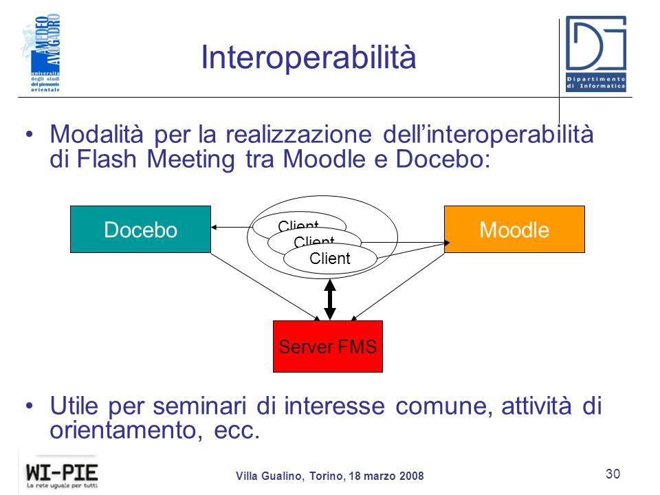 Interoperabilità Modalità per la realizzazione dellinteroperabilità di Flash Meeting tra Moodle e Docebo: Utile per seminari di interesse comune, attività di orientamento, ecc.