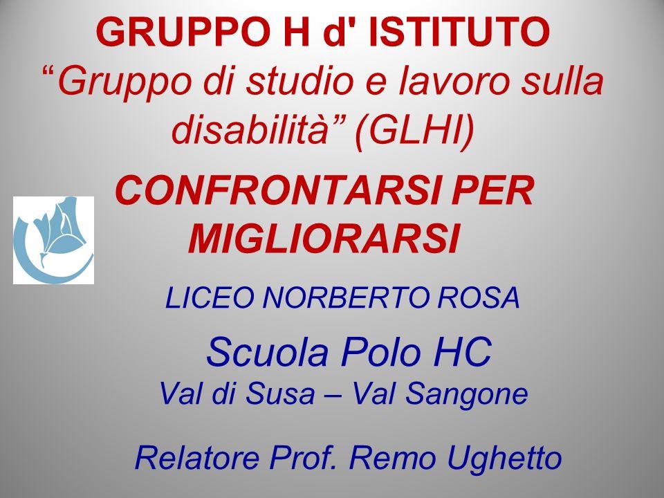 LICEO NORBERTO ROSA Scuola Polo HC Val di Susa – Val Sangone Relatore Prof. Remo Ughetto GRUPPO H d' ISTITUTOGruppo di studio e lavoro sulla disabilit