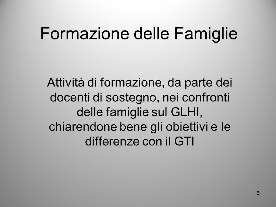 Formazione delle Famiglie Attività di formazione, da parte dei docenti di sostegno, nei confronti delle famiglie sul GLHI, chiarendone bene gli obiett