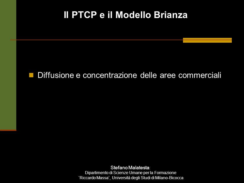 Il PTCP e il Modello Brianza Stefano Malatesta : Dipartimento di Scienze Umane per la Formazione Riccardo Massa, Università degli Studi di Milano-Bicocca Diffusione e concentrazione delle aree commerciali