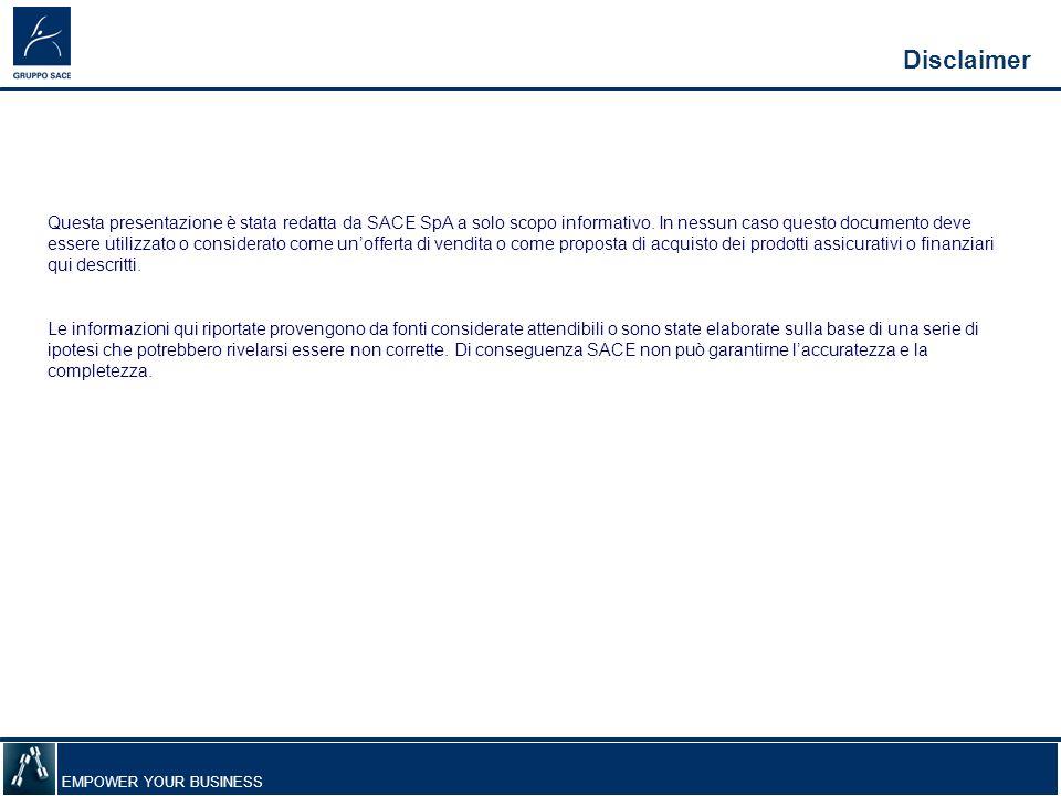 EMPOWER YOUR BUSINESS Disclaimer Questa presentazione è stata redatta da SACE SpA a solo scopo informativo.