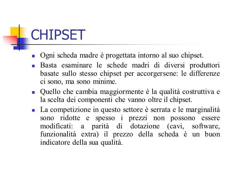 CHIPSET Ogni scheda madre è progettata intorno al suo chipset. Basta esaminare le schede madri di diversi produttori basate sullo stesso chipset per a