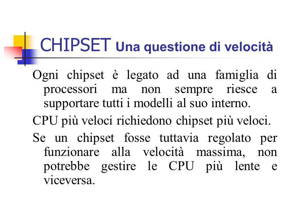 CHIPSET Una questione di velocità Ogni chipset è legato ad una famiglia di processori ma non sempre riesce a supportare tutti i modelli al suo interno