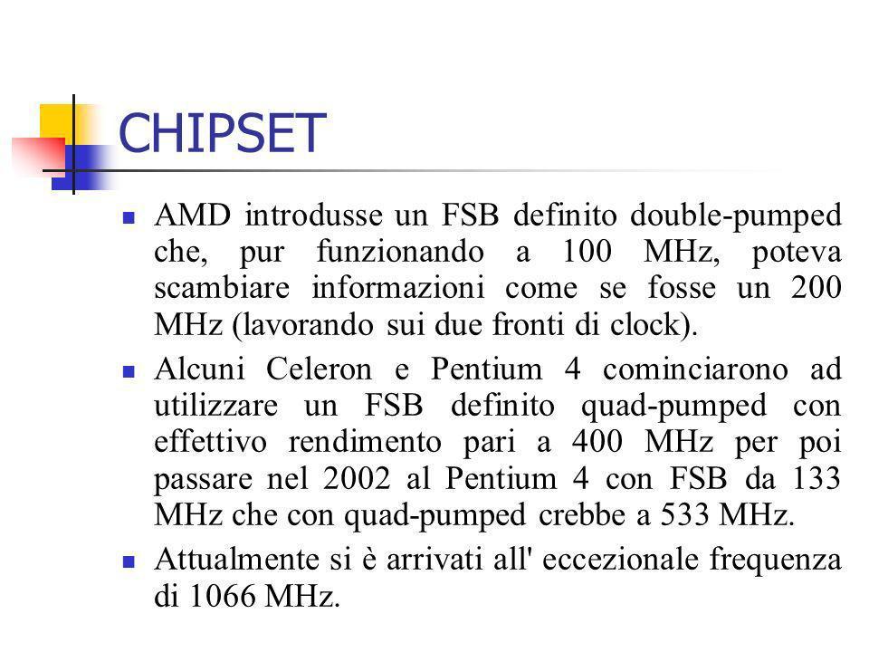 CHIPSET AMD introdusse un FSB definito double-pumped che, pur funzionando a 100 MHz, poteva scambiare informazioni come se fosse un 200 MHz (lavorando
