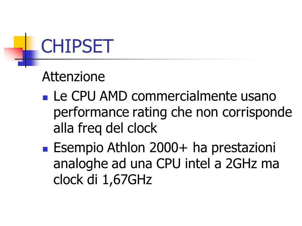 CHIPSET Attenzione Le CPU AMD commercialmente usano performance rating che non corrisponde alla freq del clock Esempio Athlon 2000+ ha prestazioni ana