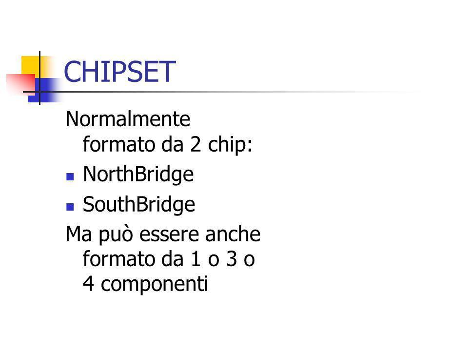 CHIPSET Normalmente formato da 2 chip: NorthBridge SouthBridge Ma può essere anche formato da 1 o 3 o 4 componenti