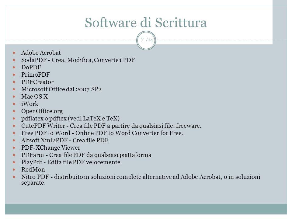 /14 Software di Scrittura Adobe Acrobat SodaPDF - Crea, Modifica, Converte i PDF DoPDF PrimoPDF PDFCreator Microsoft Office dal 2007 SP2 Mac OS X iWor