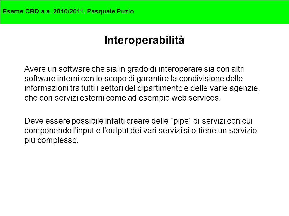 Interoperabilità Avere un software che sia in grado di interoperare sia con altri software interni con lo scopo di garantire la condivisione delle informazioni tra tutti i settori del dipartimento e delle varie agenzie, che con servizi esterni come ad esempio web services.