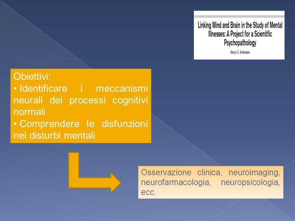 Obiettivi: Identificare i meccanismi neurali dei processi cognitivi normali Comprendere le disfunzioni nei disturbi mentali Osservazione clinica, neur
