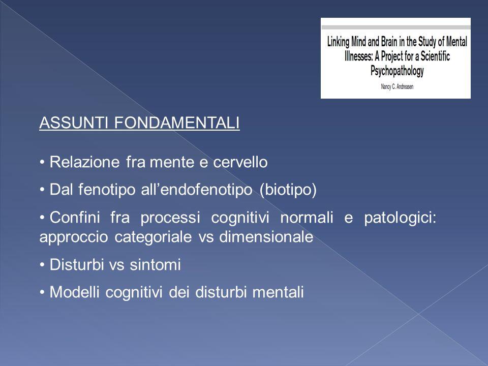 ASSUNTI FONDAMENTALI Relazione fra mente e cervello Dal fenotipo allendofenotipo (biotipo) Confini fra processi cognitivi normali e patologici: approc