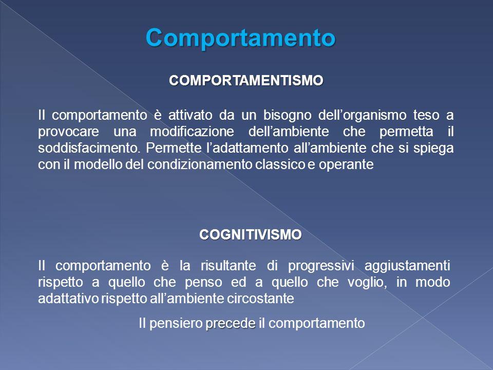 COMPORTAMENTISMO COGNITIVISMO Il comportamento è attivato da un bisogno dellorganismo teso a provocare una modificazione dellambiente che permetta il