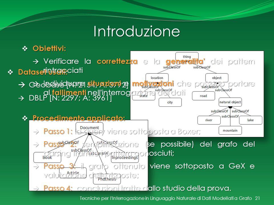 Introduzione Tecniche per l'Interrogazione in Linguaggio Naturale di Dati Modellati a Grafo21 Dataset usati: Dataset usati: Geobase [N: 2154; A: 3792]