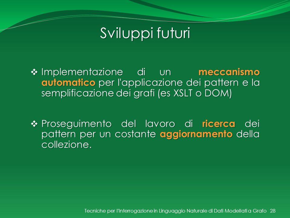 Sviluppi futuri Tecniche per l'Interrogazione in Linguaggio Naturale di Dati Modellati a Grafo28 Implementazione di un meccanismo automatico per l'app