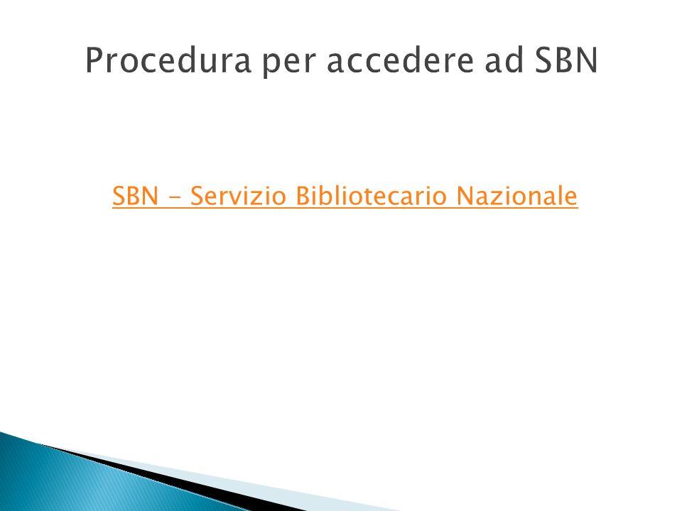 SBN - Servizio Bibliotecario Nazionale
