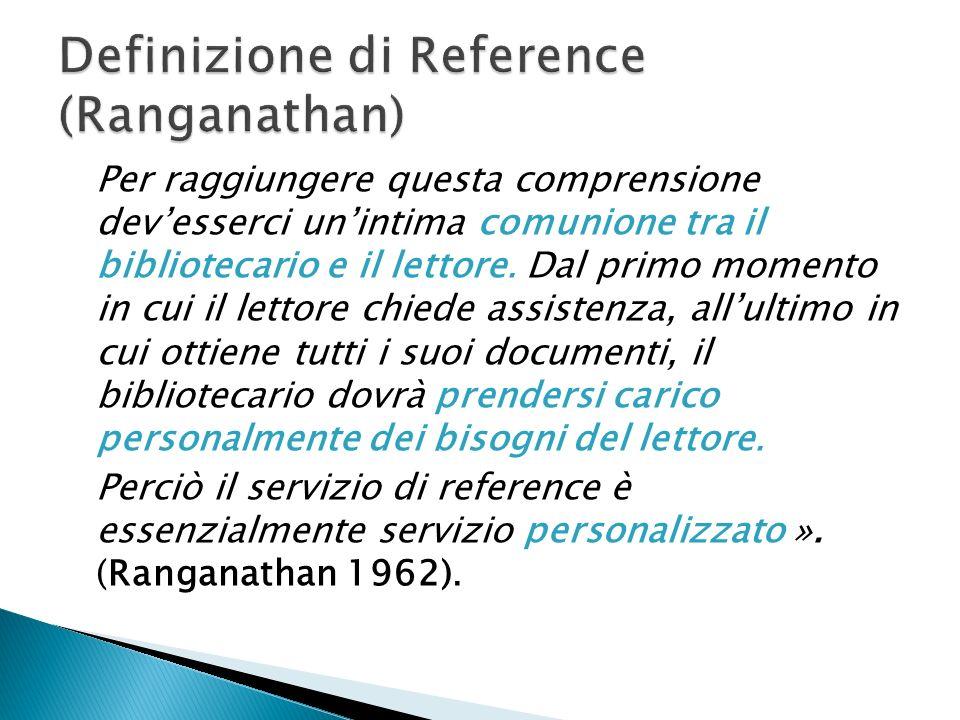 In biblioteconomia il reference (termine di derivazione anglosassone) indica le attività di consulenza, informazione e orientamento che i bibliotecari svolgono con gli utenti delle biblioteche.