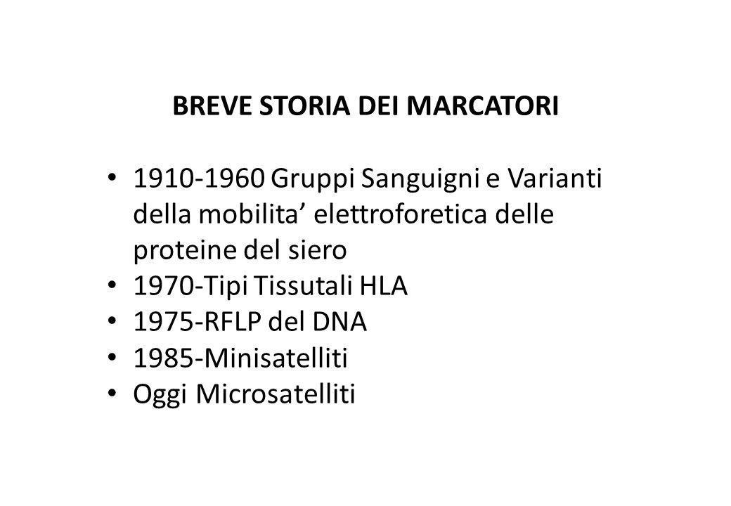 BREVE STORIA DEI MARCATORI 1910-1960 Gruppi Sanguigni e Varianti della mobilita elettroforetica delle proteine del siero 1970-Tipi Tissutali HLA 1975-