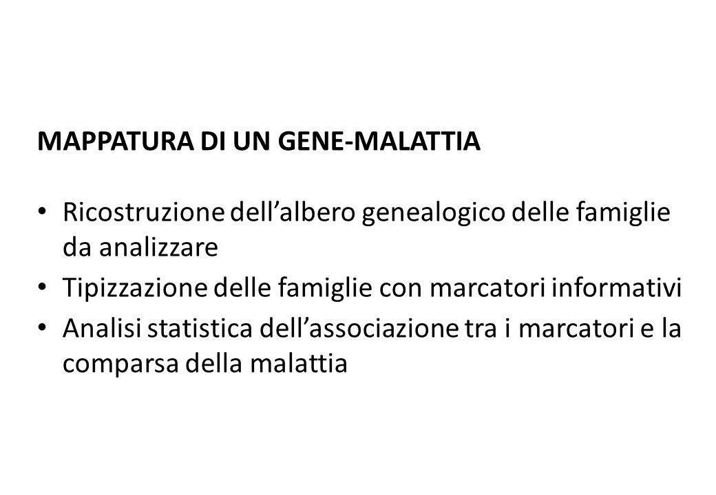 MAPPATURA DI UN GENE-MALATTIA Ricostruzione dellalbero genealogico delle famiglie da analizzare Tipizzazione delle famiglie con marcatori informativi
