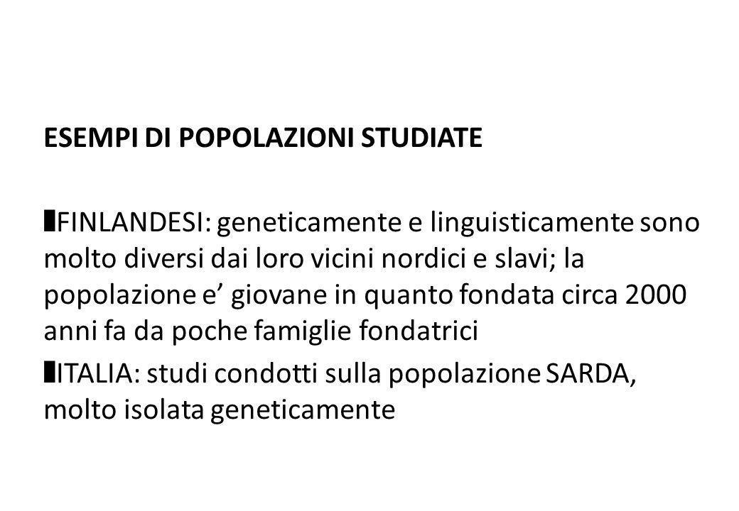 ESEMPI DI POPOLAZIONI STUDIATE FINLANDESI: geneticamente e linguisticamente sono molto diversi dai loro vicini nordici e slavi; la popolazione e giova