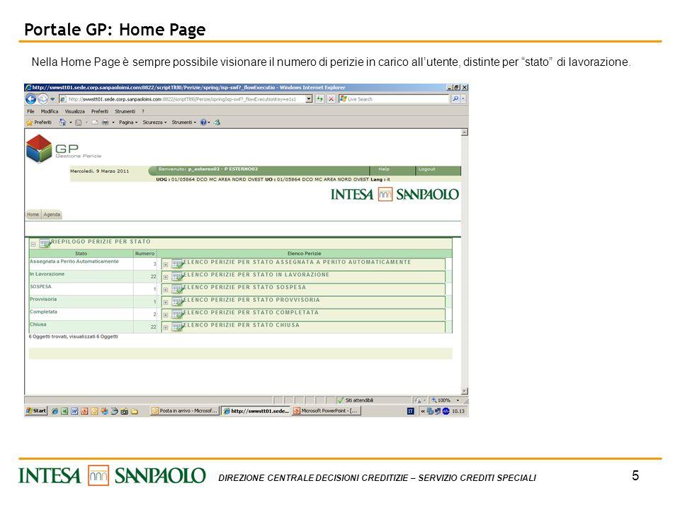 5 DIREZIONE CENTRALE DECISIONI CREDITIZIE – SERVIZIO CREDITI SPECIALI Portale GP: Home Page Nella Home Page è sempre possibile visionare il numero di