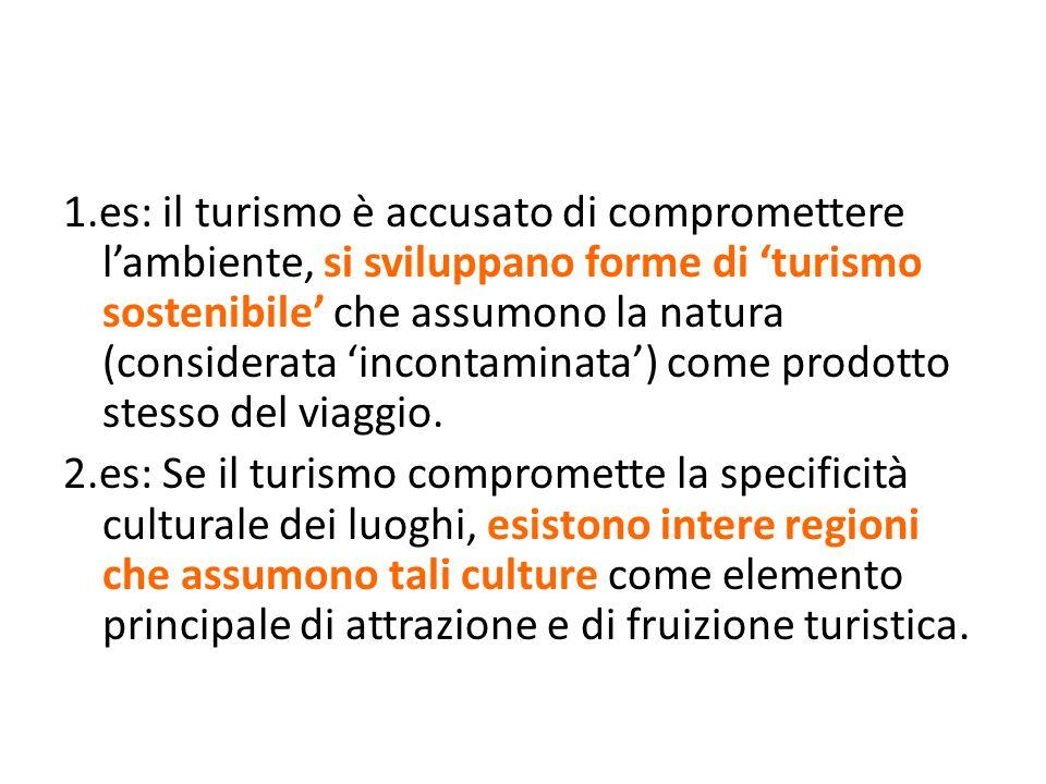 1.es: il turismo è accusato di compromettere lambiente, si sviluppano forme di turismo sostenibile che assumono la natura (considerata incontaminata)