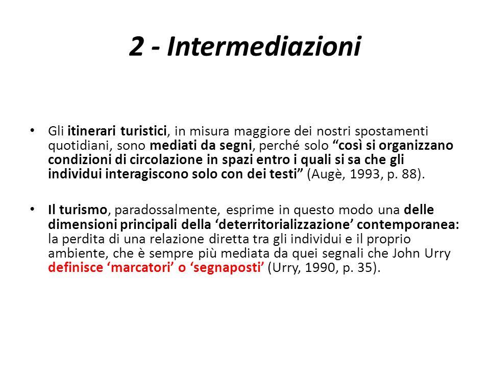 2 - Intermediazioni Gli itinerari turistici, in misura maggiore dei nostri spostamenti quotidiani, sono mediati da segni, perché solo così si organizz