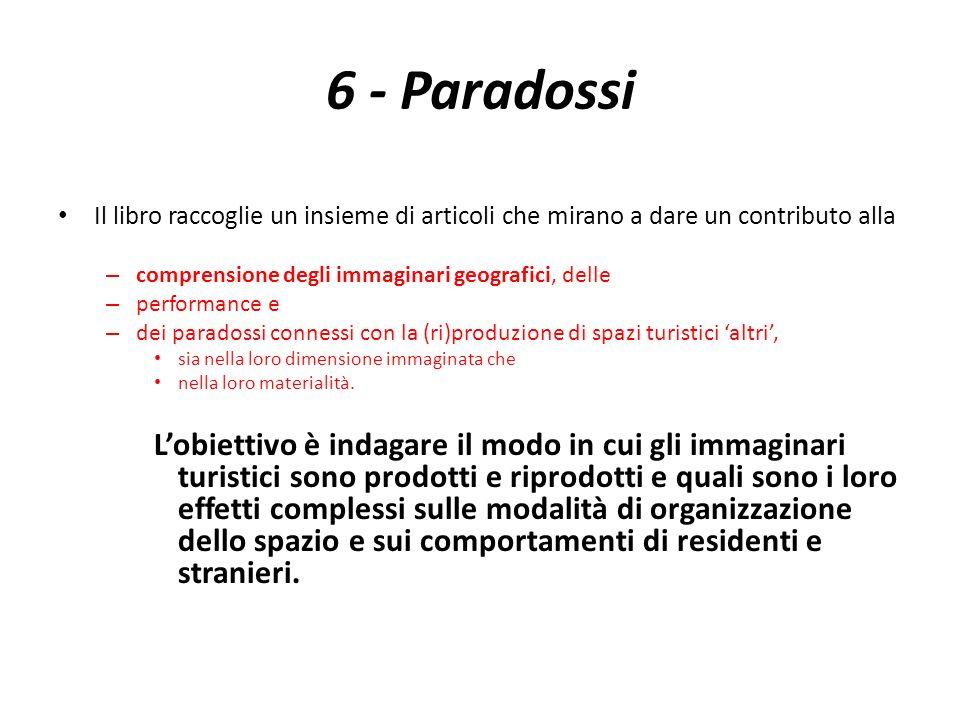 6 - Paradossi Il libro raccoglie un insieme di articoli che mirano a dare un contributo alla – comprensione degli immaginari geografici, delle – perfo