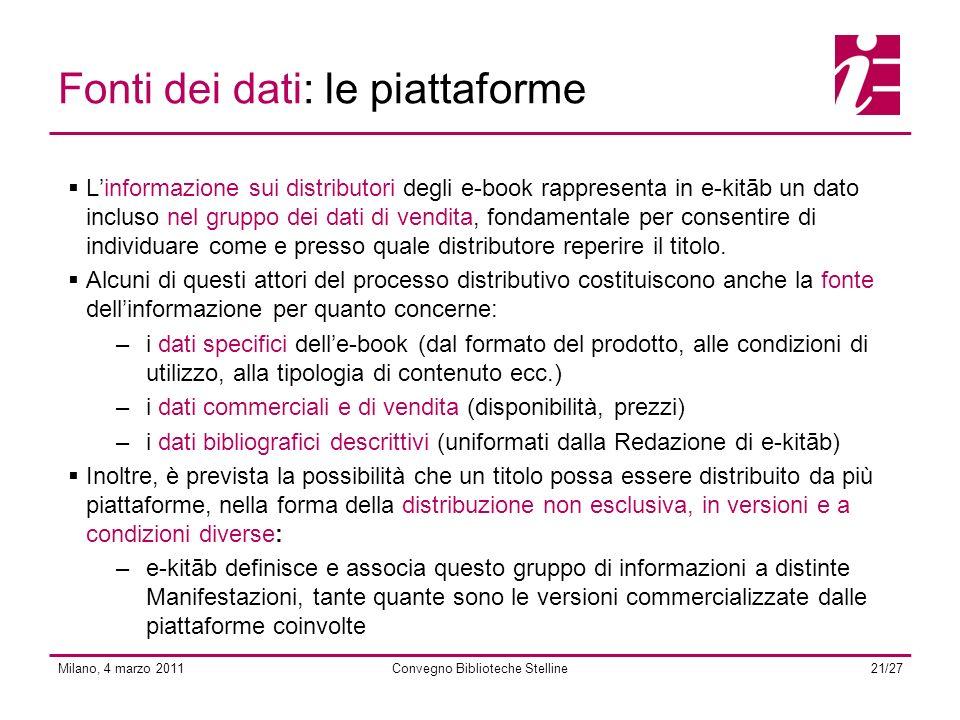 Milano, 4 marzo 2011Convegno Biblioteche Stelline21/27 Fonti dei dati: le piattaforme Linformazione sui distributori degli e-book rappresenta in e-kitāb un dato incluso nel gruppo dei dati di vendita, fondamentale per consentire di individuare come e presso quale distributore reperire il titolo.