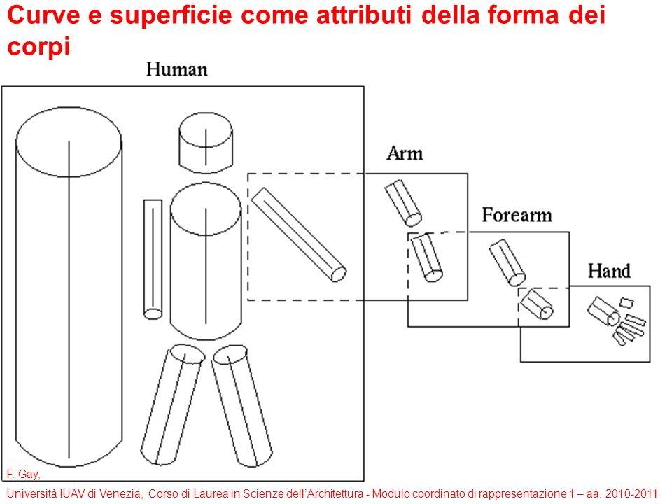 F. Gay, Università IUAV di Venezia, Corso di Laurea in Scienze dellArchitettura - Modulo coordinato di rappresentazione 1 – aa. 2010-2011 Curve e supe