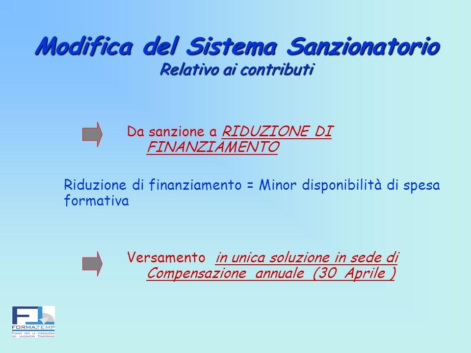 Modifica del Sistema Sanzionatorio Relativo ai contributi Modifica del Sistema Sanzionatorio Relativo ai contributi Da sanzione a RIDUZIONE DI FINANZI